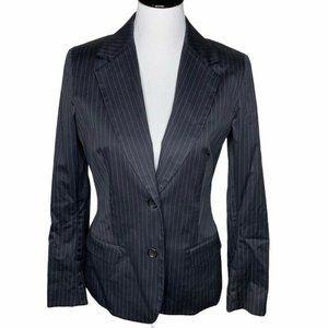 Chaiken Suit Jacket Black Pinstripe Flap Pocket 8